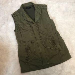 Olive Green Studded Zip Up Vest